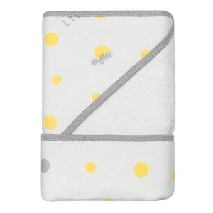 Hooded Towel - YELLOW & GREY SPOTS