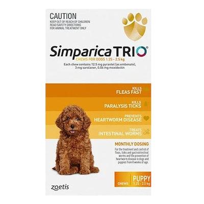 SIMPARICA Trio Flea & Tick Control for Puppies 1.3-2.5kg Yellow 3 Pack
