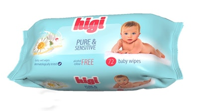 Higi Pure & Sensitive Baby Wipes with Chamomile Lotion - 1 Box - 12 Packs of 72 Wipes