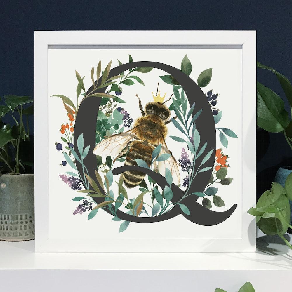 Laura Elizabeth Illustrations Q For Queen Bee Fine Art Print