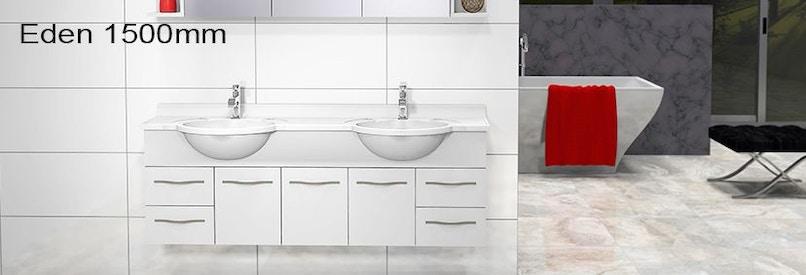 Timberline eden 1500mm wall hung vanity pre built for Premade bathroom vanities