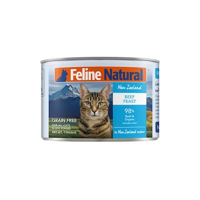 FELINE NATURAL Canned Cat Beef Feast 170G