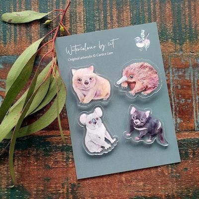 Watercolour by Cat Australian animals acrylic magnet set of 4
