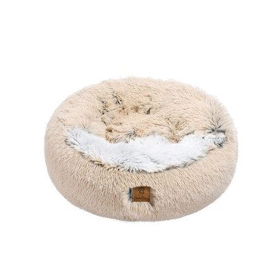 Charlie's Cushioned Snookie Hooded Pet Nest Bed Double Faux Chinchilla Cream and Artic White