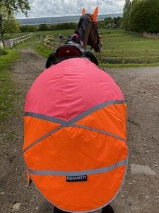 Charlotte Dujardin Multi Coloured Waterproof Hi Viz Horse Sheet - Pink/Orange