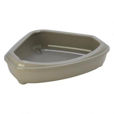 Moderna Cozy Corner Tray & Rim Cat Litter Box Warm Grey