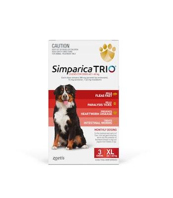 SIMPARICA TRIO Red Flea, Tick & Worm Chews 40.1-60kg