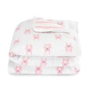 aden flannel mini blanket bunny pink