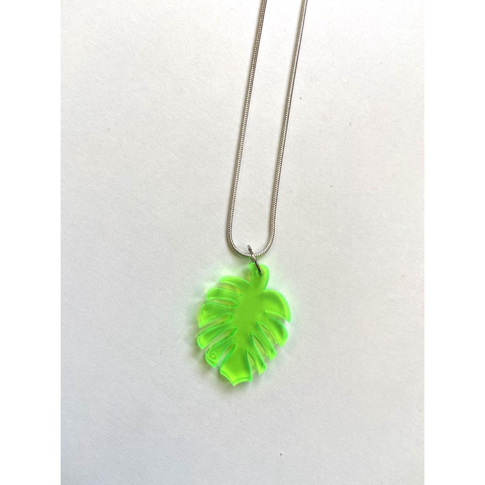 One of a Kind Club Green Leaf Acrylic Necklace