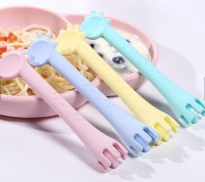 On Chic Baby Clothes Mama & Boo Silicone Feeding Spoon & Fork - Various Colours