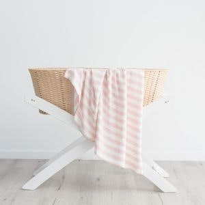 On Chic Baby Clothes Bamboo Baby Blanket - Pink Stripes