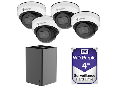 Milesight 4K 9-Channel Mini NVR CCTV Kit including 4 x 5MP weather resistant mini domes and a 4TB HDD (Screen NOT included)