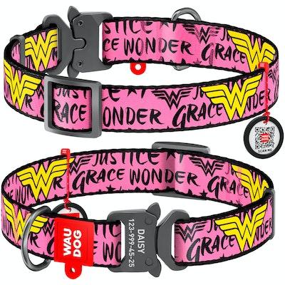 WauDog by the Collar Company WauDog Nylon Dog Collar -Wonder Woman - Sizes: X-Small, Small, Medium, Large