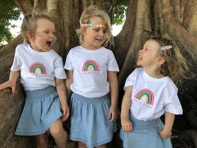 Kids' Short Sleeve Rainbow T-Shirt in White/Navy