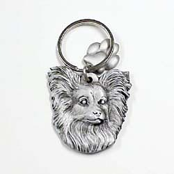 Key Companions Solid Fine Pewter Papillion with Paw Keychain