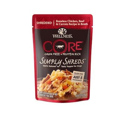 WELLNESS CORE Simply Shreds Chicken, Beef & Carrots Wet Dog Food 79G