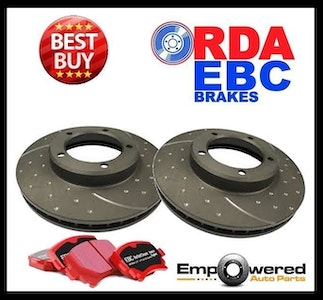 DIMPLED SLOTTED FRONT DISC BRAKE ROTORS+PADS for BMW X3 E83 2.0L 2.5L 2004-11