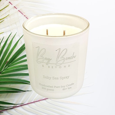 Bay Beach and Beyond Salty Sea Spray Double Wick White & Silver