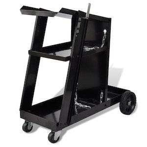 Welding Cart Trolley with 3 Shelves Workshop Organizer - Black
