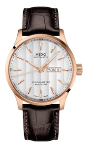Mido Multifort Chronometer - Stainless Steel with Rose Gold PVD - Brown Leather Strap