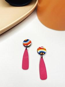 Rainbow Lines Small Dangle Earrings