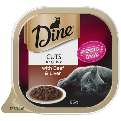 Dine w/ Beef and Liver Cuts in Gravy Wet Cat Food 14 x 85g