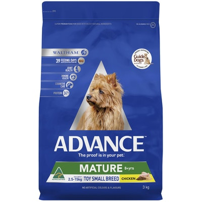 Advance Mature Toy & Small Breed Adult Chicken & Turkey Dry Dog Food 3Kg