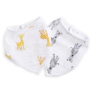 aden safari babes giraffe/zebra muslin bandana bibs 2pack