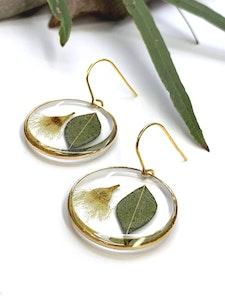 White Flowering Eucalyptus Circle Earrings