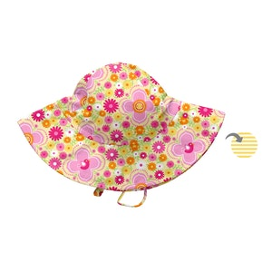 i play. Mix & Match Reversible Brim Sun Protection Hat-Yellow Fiesta Floral