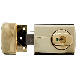 Lockwood 001-1EVB dead lock with lever handle, suitable for timber door frame installation in everbrass finish
