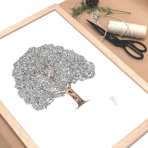 Framed A3 'Tree of Life' Limited Edition Print with Hand-Applied Gold-Leaf Metals.