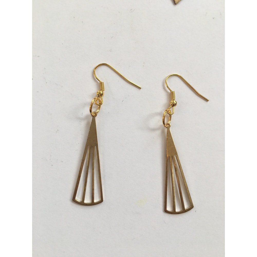 One of a Kind Club Geometric Triangle Brass Earrings