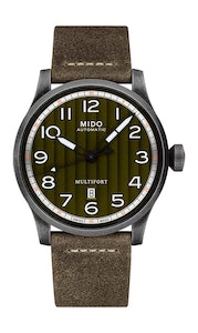 Mido Multifort Escape - Stainless Steel with Aged and Sandblasted PVD - Khaki Leather Strap
