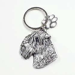 Key Companions Solid Fine Pewter Wheaten Terrier with Paw Keychain