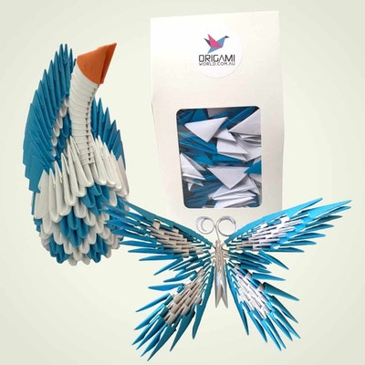 Origami World 3D Origami Kit – 2in1 Kit to Make a Swan or Butterfly – Ready To Build like Legos