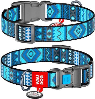 WauDog by the Collar Company WauDog Nylon Dog Collar -Etho-Blue- Sizes: X-Small, Small, Medium, Large