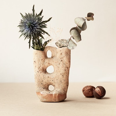Sand and Fire Designs Double-necked organic ceramic vase