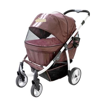House of Pets Delight Elegant Retro I Dog Stroller - Brown Pink