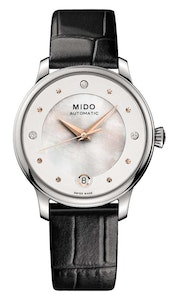 Mido Baroncelli Lady Day & Night - Stainless Steel - Interchangeable Black Leather Strap and Red Glossy Leather Strap