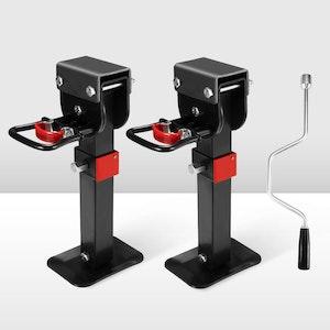 2x 400mm Corner Legs Drop Down W/Handle Steel Base 1200LBS