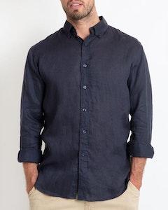 DESTii Navy Long Sleeve Linen Shirt