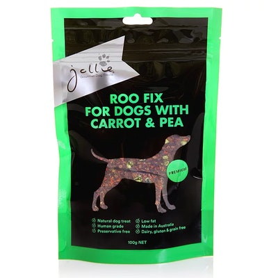 Jollie Gourmet Dog Treats Roo Fix for Dogs with Carrot & Pea 100g Pouch