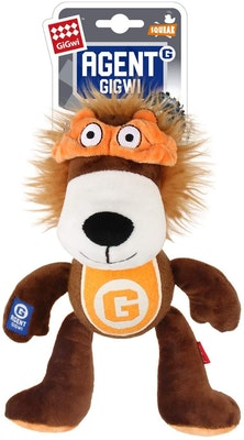 GIGWI Agent Lion Durable Indoor Play Dog Squeaker Toy