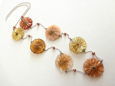 Beadoire Glass Lampwork Glass Bead Necklace   'Autumn Dreams' 2021