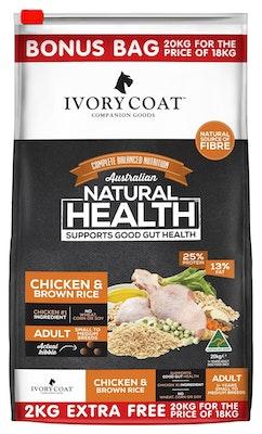 IVORY COAT Wholegrain Dry Dog Food Adult Chicken & Brown Rice 20 Kg Bonus Bag
