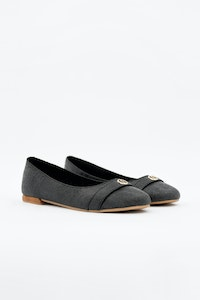 1 People Cape Town Ballerina Flats in Charcoal Black
