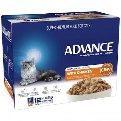Advance Senior Chicken In Gravy Wet Cat Food 12x85G