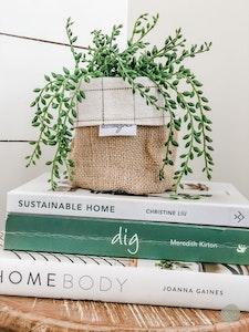 Mini Pot Plant Cover - Avett Check Reversible Hessian