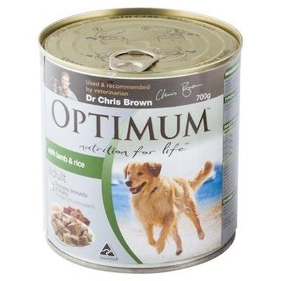 Optimum Dog Adult 2+ Years Food With Lamb & Rice Tins 700g 12 Pack